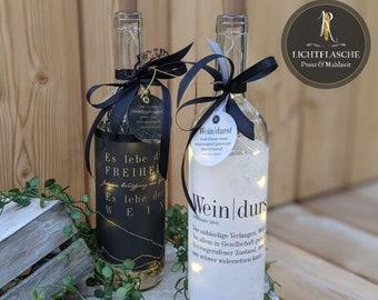 """Light bottle / bottle lantern > wine rush < """"Weindurst / Goethe"""" lovingly recycled incl. light chain"""