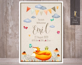 """Print / Print > Welcome < to Birth & Baptism - """"Little Fox"""" Sizes + Individualization"""