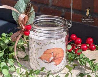 "Light glass / lantern > autumn < ""Little Fox"" - lantern in hanging glass"