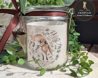 "Light glass / lantern > autumn < ""forest animals"" - motif of choice / lantern in hanging glass"