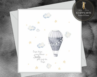 """Mourning / Condolence Card > Mourning & Consolation Star Child < """"Quiet, quiet, a little soul goes on the journey"""" - card incl. envelope"""