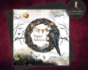"Halloween card / invitation / folding card > Halloween < ""Happy Halloween Rabe"" - 15 x 15 cm incl. envelope"