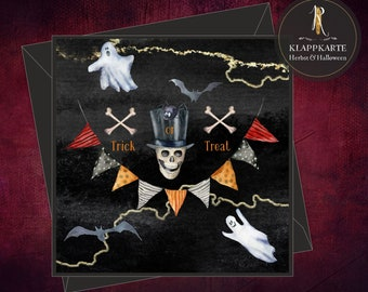 "Halloween Card / Invitation / Folding Card > Halloween < ""Trick or Treat Skull"" - 15 x 15 cm incl. envelope"