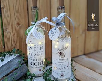 """Light bottle / bottle lantern > wine rush < """"Breathe wine / The best wine ..."""" lovingly recycled incl. light chain"""