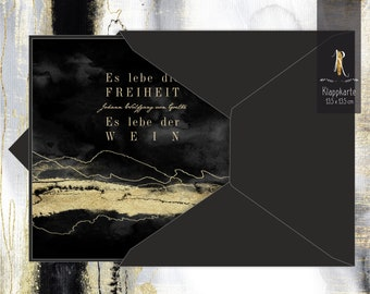 """Gift/greeting/invitation card > Weinrausch < """"Long live freedom! Long live the wine!"""" J. W. von Goethe - 13,5 x 13,5 cm incl. cover"""
