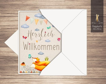 """Greeting card / folding card > Welcome < to the birth """"Little Fox"""" 10.5 x 14.8 cm incl. envelope"""