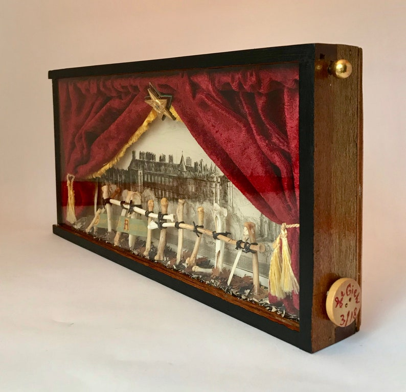 Assemblage Art Red Velvet Drapes CONTENTMENT IS RICHES Victorian Ribbon Disparity Antique Etching Bone Fence Shadowbox
