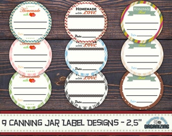9 Canning Jar Labels - Printable Mason Jar Lid Labels Templates - Homemade With Love Tags - Food Gift Tags - Storage Kitchen Labels - 2.5''
