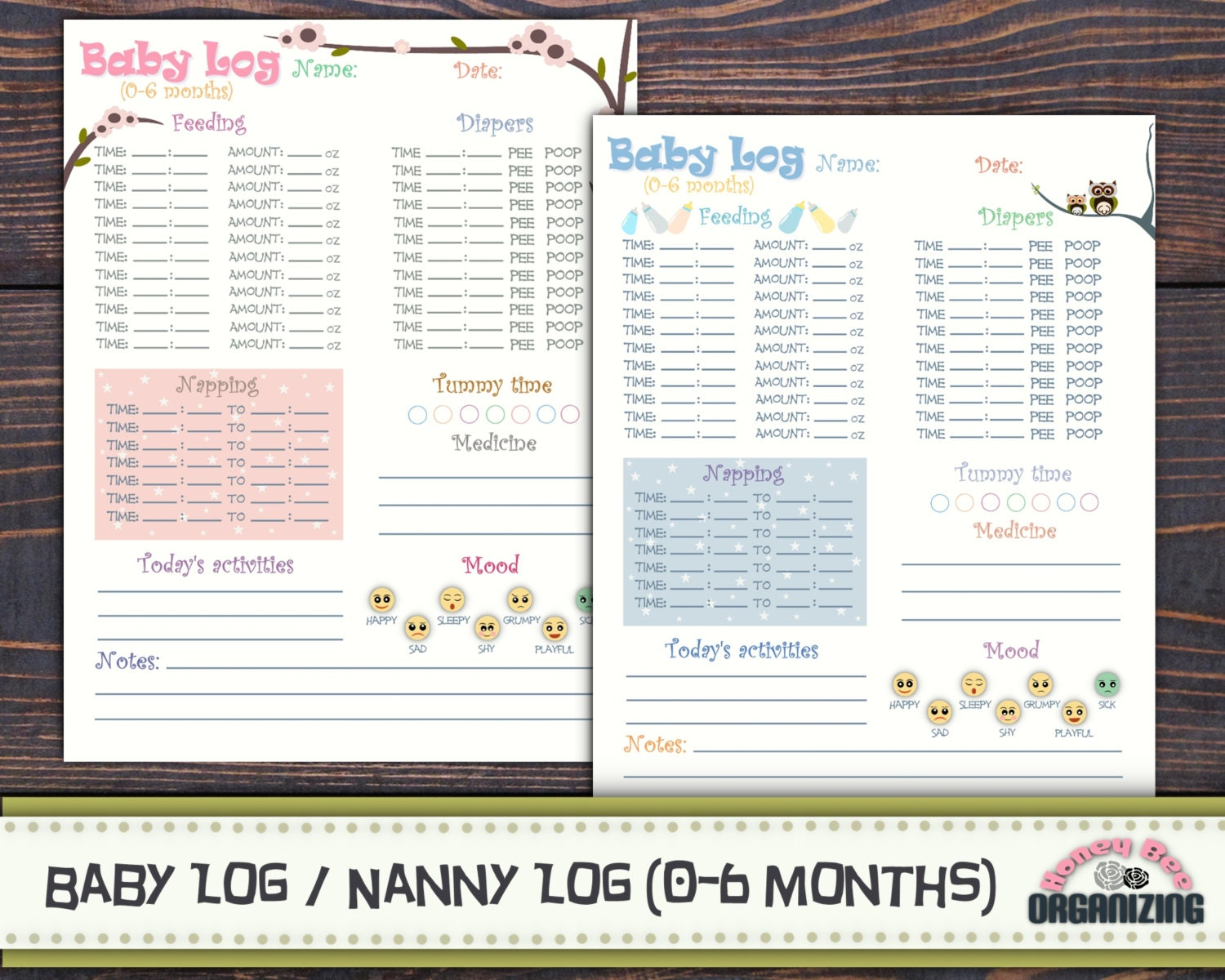 baby log 0 6 months nanny log baby s day schedule etsy