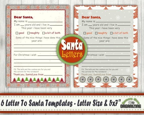 6 Printable Letter To Santa Templates Dear Santa Letter Etsy