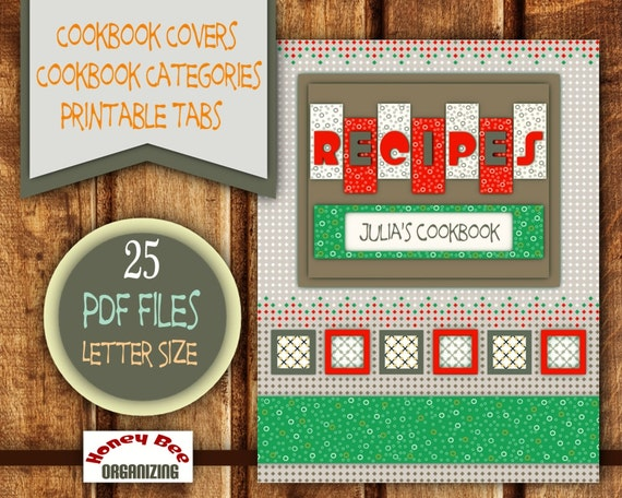printable cookbook templates filable blank categories tabs etsy