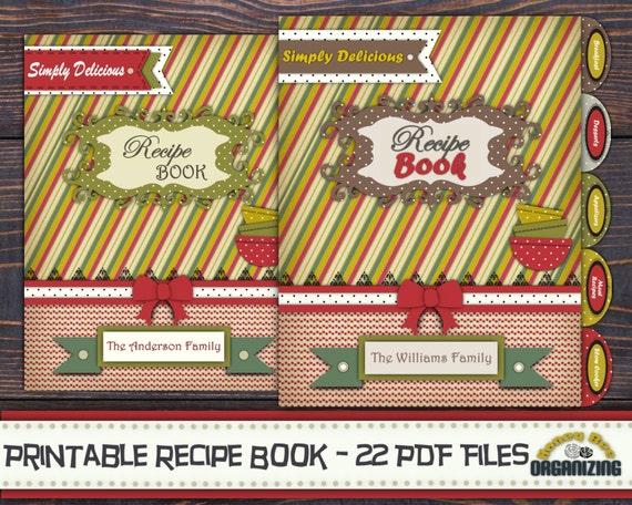 diy printable recipe book templates pdf 8 5x11 recipe etsy