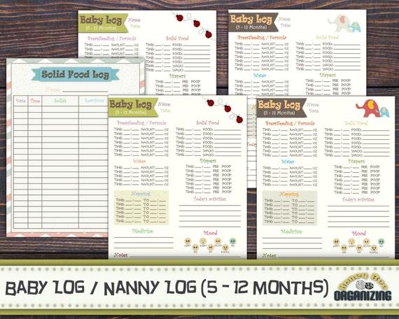 Baby Log 5-12 Monate Nanny Log Babys Tag Terminplaner   Etsy