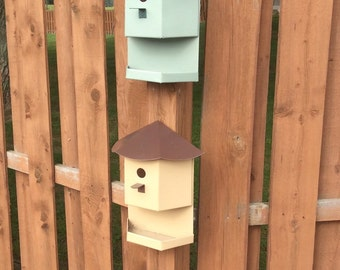 Decrative metal bird house and attached tray