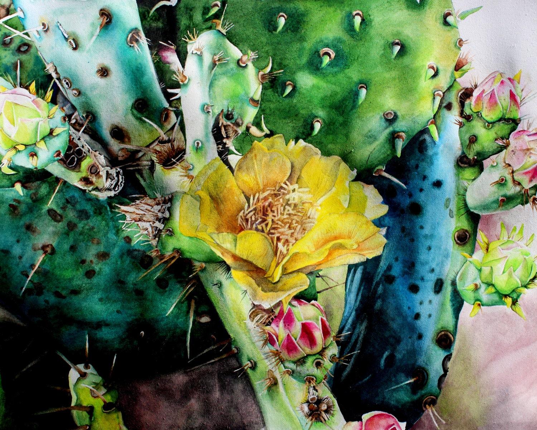 Beautiful Blue Cactus Watercolor Print on cotton blend paper