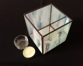 Stained Glass Tea Light Holder 10cm Cube - Irridescent Candle Holder - Votive Candle Holder - Candle Holder - More Colours Available