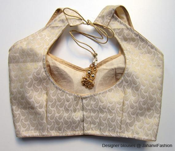 Sari Top All Sizes Saree Top For Women Readymade Saree Blouse golden-silver color in chanderi Sari Blouse