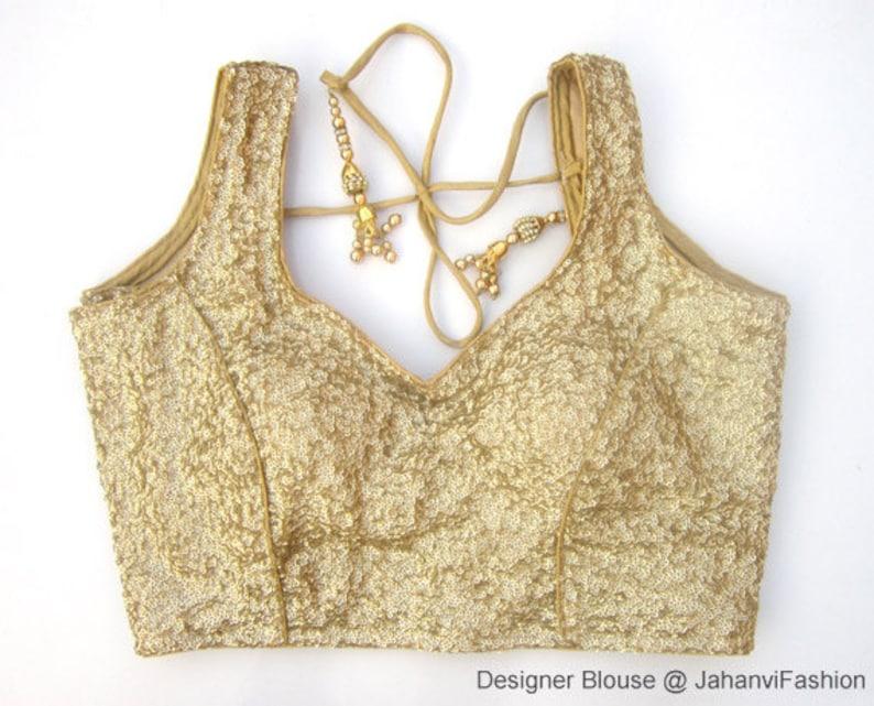 42af13511e8bb9 Readymade sequins glitter saree blouse golden silver light   Etsy