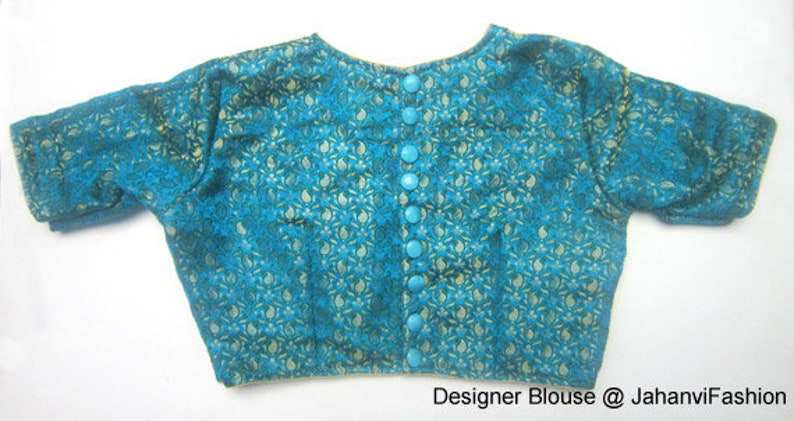 a1e9f1c529a9a Readymade high neck Saree Blouse with back side button style