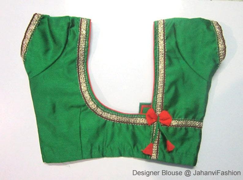 Sari Blouse Readymade Saree Blouse Ready made All Sizes Sari Top Green color For Women Saree Top