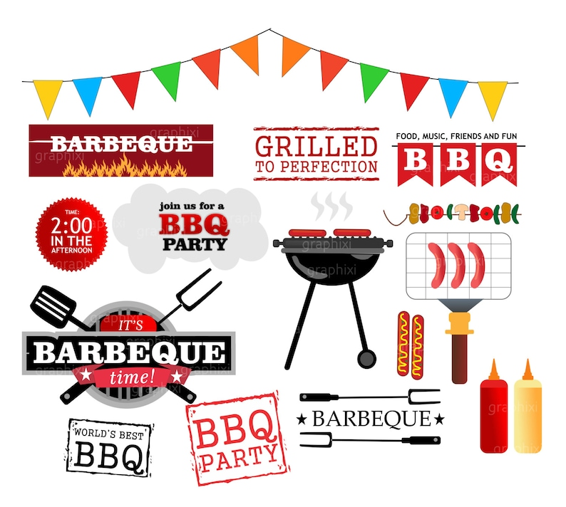 Clipart Barbeque Bbq Clipart Barbecue Party Invitation Etsy