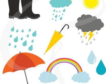 Rainy day clipart, weather Digital clipart - weather, rainbow, thunderstorm, rain, rainfall, rain drops, commercial use, scrapbooking,