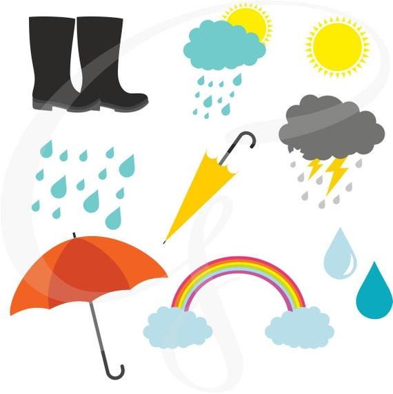 Rainy Day Clip Art: Rainy Day Clipart Weather Digital Clipart Weather Rainbow