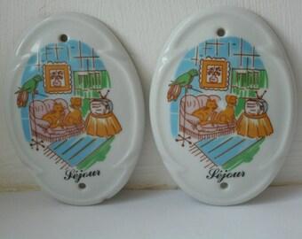 stunning vintage French Limoges porcelain door finger plate  plaque