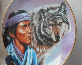 stunning vintage Franklin mint Limited edition spirit of the majestic wolf plate