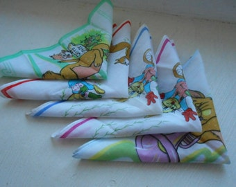 set of five vintage French handkerchiefs with cartoon / animal design