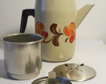 stunning vintage French enamel coffee pot / tea pot complete with strainer