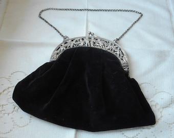 VERY RARE  RARE stunning Antique German 800 solid silver bag / coin purse / handbag / cosmetics bag
