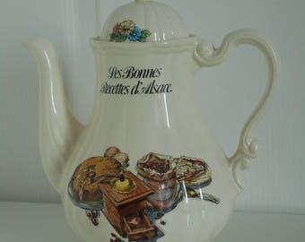 Rare vintage French Sarreguemines Les Bonnes Recettes d Alsace coffee pot