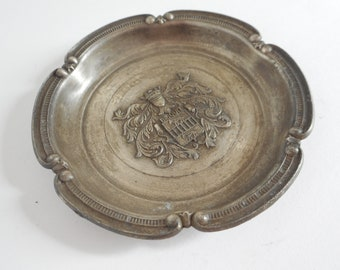 stunning vintage French silver plated metal decorative table ashtray