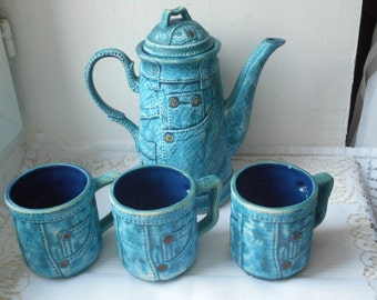 stunning vintage French hand painted 4 piece coffee pot set