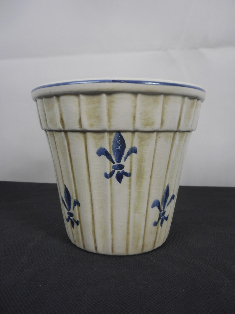 stunning vintage French hand painted ceramic plant pot