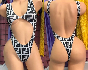 fb75acab15b8d Sexy Black & White F Print One Piece Outfit. Exotic Dancewear, Sm/Med,  Ready to Ship