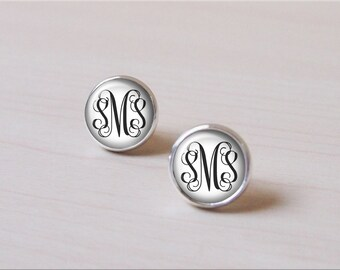 White, Snow earring, Monogram earring, circle Monogram personalized customized Silver Earring stud, Earring clip