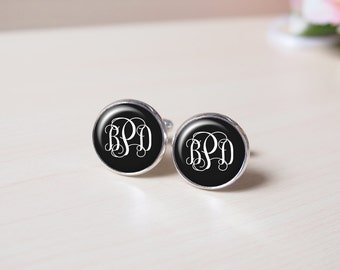 Name cufflink, Black, Mysterious, Mature, Initial, circle Monogram cufflink personalized initial vintage silver cufflink