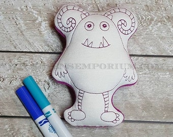 Curly Horned Monster In The Hoop Doodle-It