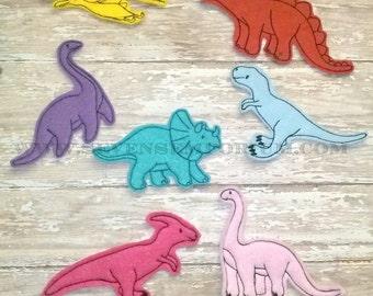 Dinosaur Set of 7 FELTIES In The Hoop Machine Embroidery Design