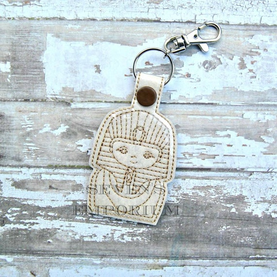 Pharaoh Key Fob Snaptab Keychain Machine Embroidery Design