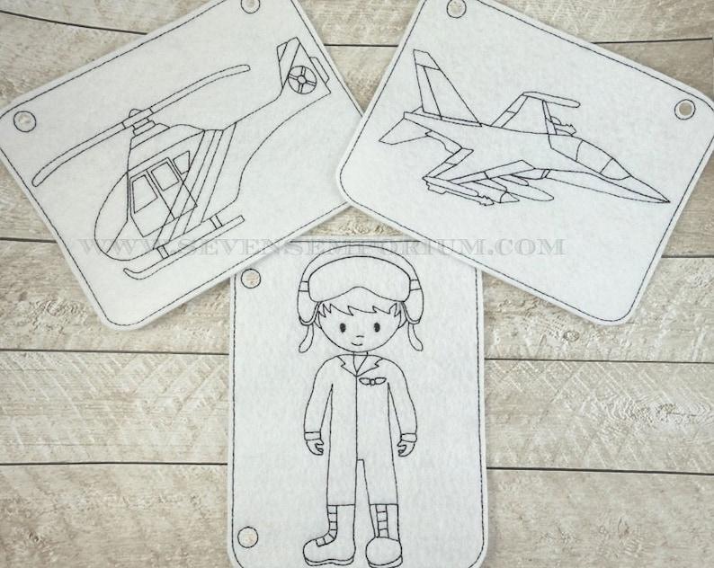 Jet De Combate Piloto De La Fuerza Aérea Militar Helicóptero Vehículo Conjunto En Los Diseños De Aro Doodle It Para Colorear Página Máquina Del