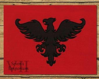 Phoenix Silhouette Heraldry Machine Embroidery Applique Design