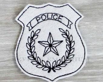 Police Badge Felt In The Hoop Machine Embroidery Design