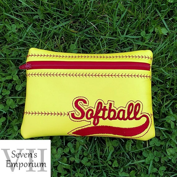Softball Lined Zip Bag Machine Embroidery Design Etsy