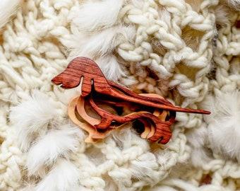 Dachshund dog wood pin