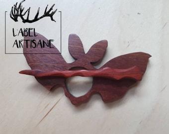 Halloween Bat and magic wand wood brooch