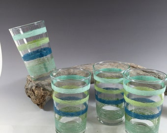 Vintage Juice Glasses-Blue Green Stripes, Small 4 oz