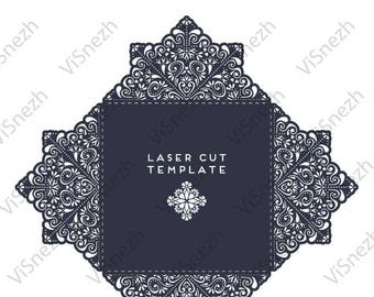 Laser cut Invitation Template. Template for Wedding invitation, Gift, Letter, etc. EPS SVG DXF cutting files, Silhouette Cameo, Cricut